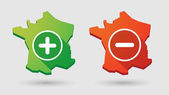 Long shadow France map  math sign icon set — Stockvector