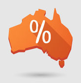 Australia map icon with a percentage sign — Stock Vector