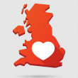 UK map icon with a heart — Stock Vector #62630997