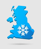 UK map icon with a snow flake — Stock Vector