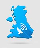 UK map icon with an antenna — Stock Vector