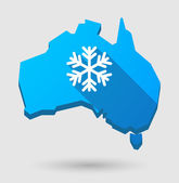 Long shadow Australia map icon with a snow flake — Stock Vector