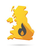 UK map icon with a flame — Stock Vector