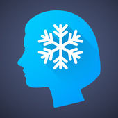 Female head silhouette icon with a snow flake — Stock Vector
