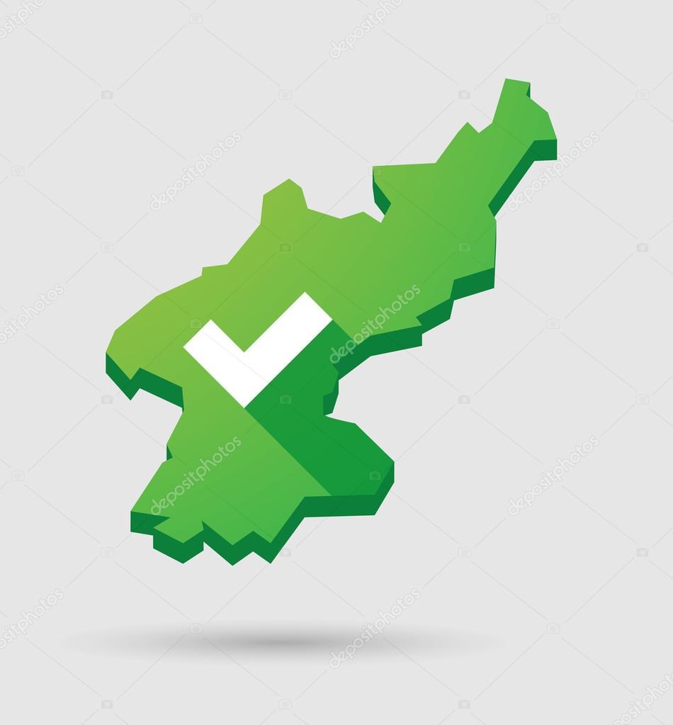 带有复选标记的朝鲜地图 — 图库矢量图像08 jpgon