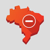 Red Brazil map with a subtraction sign — Stock Vector
