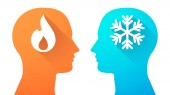 Head set with a flame and a snow flake — Stockvector