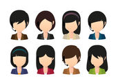 Female asian faceless avatar wearing head set — Stock Vector