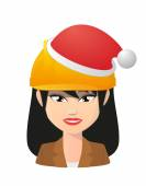Female asian avatar wearing a working helmet and a santa hat — Stock Vector