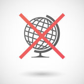 Not allowed icon with a world globe — Stock Vector
