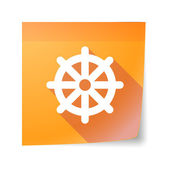Sticky note icon with a dharma chakra sign — Cтоковый вектор