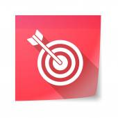 Sticky note icon with a dart board — Cтоковый вектор
