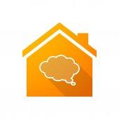 Orange house icon with a cloud comic balloon — Stock Vector