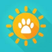 Long shadow sun icon with an animal footprint — Stock Vector