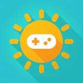 Long shadow sun icon with a game pad — Stock Vector