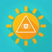 Long shadow sun icon with an all seeing eye — Stock Vector
