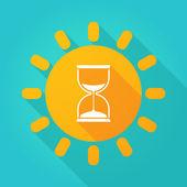 Long shadow sun icon with a sand clock — Stock Vector