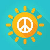 Long shadow sun icon with a peace sign — Stock Vector