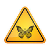 Danger signal icon with a butterfly — Stock Vector