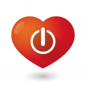Heart icon with an off sign — Stock Vector