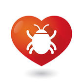 Heart icon with a bug — Stock Vector