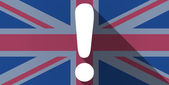 United Kingdom flag icon with an exclamation sign — Stockvektor