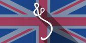 Ícone de bandeira do Reino Unido com um sinal de ebola — Vetor de Stock