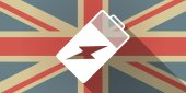UK flag icon with a battery — ストックベクタ