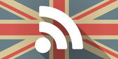 UK flag icon with a RSS feed sign — Stockvektor