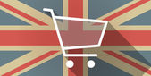 UK flag icon with a shopping cart — Stock Vector