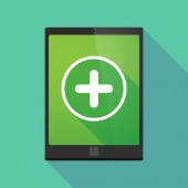 Tablet pc icon with a sum sign — Cтоковый вектор