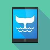 Tablet pc icon with a whale tail — Stockvector