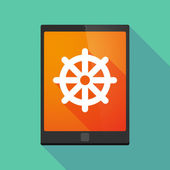 Tablet pc icon with a dharma chakra sign — Stock Vector