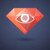 Diamond icon with an eye — Stock Vector