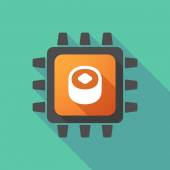 CPU icon with a sushi — Stock Vector