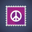 Purple mail stamp icon with a peace sign — Stock Vector #75533285