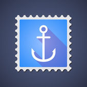 Blue ,ail stamp icon with an anchor — Stock Vector