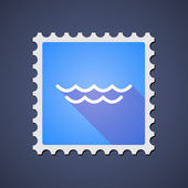 Blue ,ail stamp icon with a water sign — Stock Vector