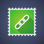 Green mail stamp icon with a chain — Stock Vector