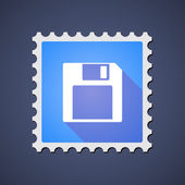 Blue ,ail stamp icon with a floppy disk — Stock Vector