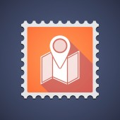 Orange mail stamp icon with a map — Stock Vector