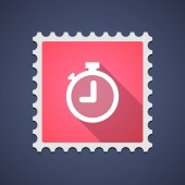 Red mail stamp icon with a timer — Stock Vector