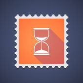Orange mail stamp icon with a sand clock — Vector de stock