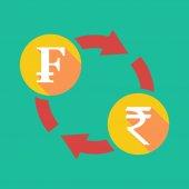 Обмен знак с Швейцарский Франк знак и знак рупия — Cтоковый вектор
