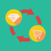 Exchange sign with a diamond and a shopping cart — Stock Vector
