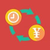 Utbyte tecken med en klocka och en yen-tecken — Stockvektor