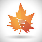 Autumn leaf icon with a shopping cart — Stock Vector