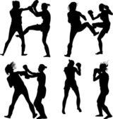 Kickboxing woman — Stock Vector