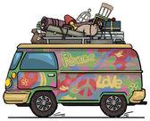 Van hippie — Vetor de Stock