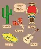 Latin American style with slogans of all objects — Stockvektor